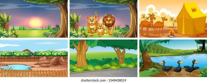 Six different scenes with animals illustration