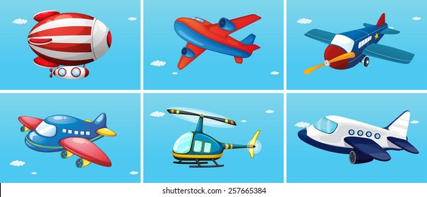 six different types of aircrafts