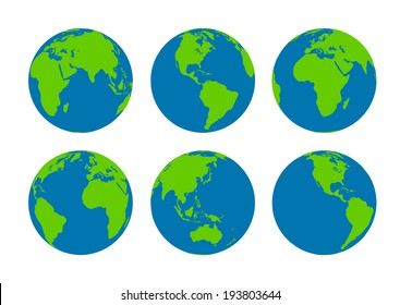 Six  Earth globes