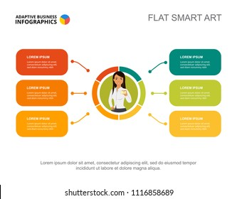 Six elements plan process chart template for presentation. Vector illustration. Diagram, graph, infochart. Vision, production, planning or marketing concept for infographic, report.