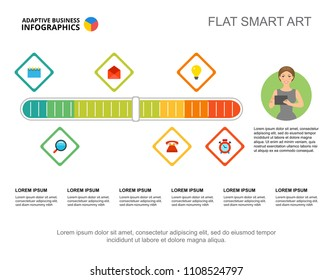Six elements process chart template for presentation. Vector illustration. Abstract elements of diagram, graph. Workflow, progress, planning, business or production concept for infographic, report.