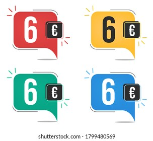 Six euro price. Yellow, red, blue and green currency tags. Balloon concept.
