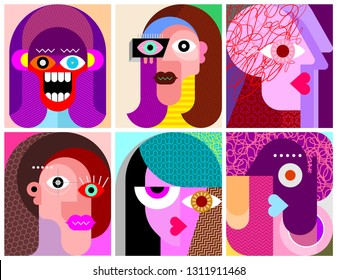 Six Faces, Facial Expressions modern art vector illustration. Composition of six different abstract portraits. Characters design.