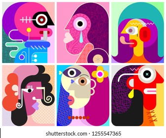 Six Faces, Six Persons modern art vector illustration. Composition of six different abstract portraits.