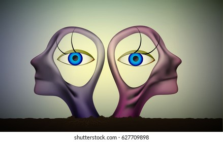 six feeling, intuition view, the same point of view idea, people heads  with eyes inside,  surrealistic sculpture, the similar souls, what`s inside?