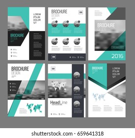 Six flyer marketing templates with photo, text and map. Sale Brochure layout vector set for business.