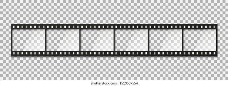 Six frames of classical 35 mm film strip. Vector illustration.