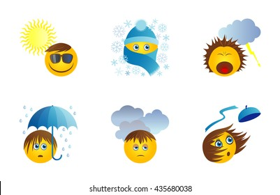 Six funny original icons with emoticons for weather report. Suny day, snow, storm, rain, cloads, wind. Vector set