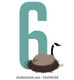 Six geese a laying Christmas illustration. EPS 10 vector royalty free illustration. EPS 10 vector.
