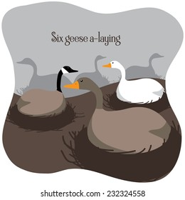 Six geese a laying Twelve Days of Christmas EPS 10 vector illustration