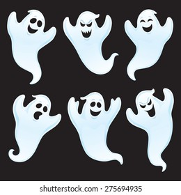 Six Ghost Characters with Assorted Expressions