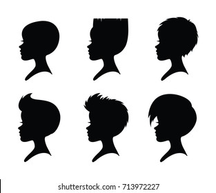 Six girl heads. Short hairstyles. Black silhouettes isolated on a white background. Vector.