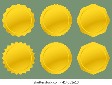 Six Golden Seals ready for text or decoration