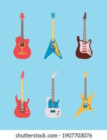 six guitars instruments musicals set icons vector illustration design