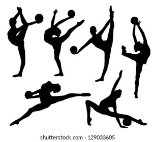 six gymnasts' body shape with a ball on a white background
