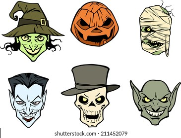 Six halloween heads