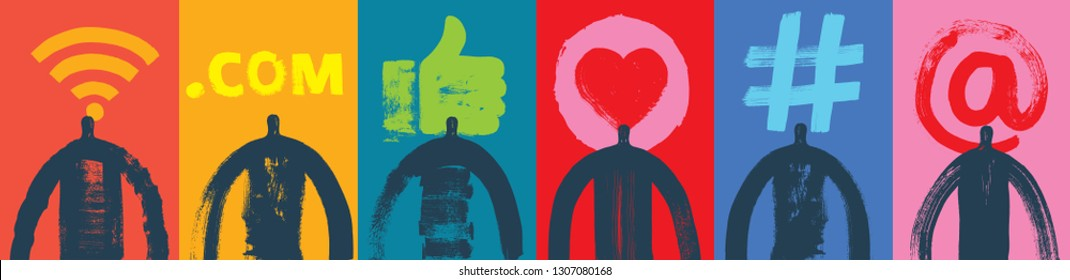 Six Head & Shoulder Silhouettes, Vector Illustration, Grunge texture, Social Media,  Symbols, Marketing, Influencer, Instagram Followers, Facebook, likes, Digital media, like symbol, followers, people