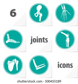 Six Human Joints Icons Ankle Elbow Hip Knee Shoulder Wrist - Grey and Turquoise Objects in Circles on White Natural Paper Effect Background - Flat Graphic Style