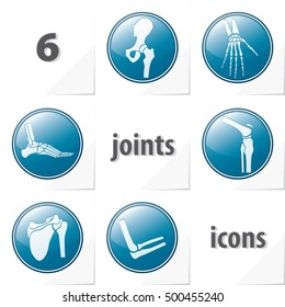 Six Human Joints Icons Ankle Elbow Hip Knee Shoulder Wrist - Blue and Grey Objects in Circles on White Natural Paper Effect Background - Realistic Gradient Graphic Style