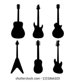 Six kinds of guitars, black vector