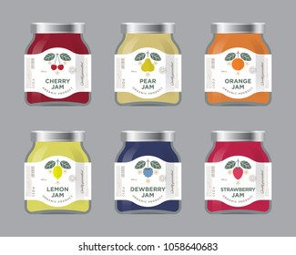 Six labels fruit jam. Labels, cherry, pear, orange, lemon, dewberry, strawberry jam labels and packages. Premium design. The flat original illustrations and texts on the minimalist labels on the jars