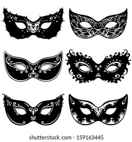 Six mask silhouettes