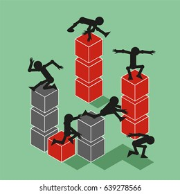 Six Men in Different Positions Build Towers from Cubes. Vector Illustration