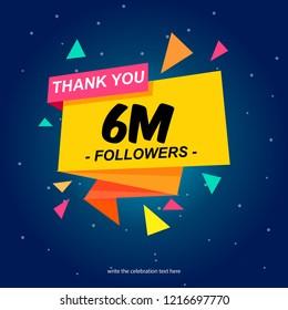 six million followers social media post background template.