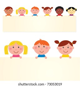 Six multicultural children with blank banner. Vector Illustration.