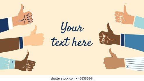 Six multiethnic, diverse business hands showing the thumbs up sign with space for your text.Concept of a job well done, a successful business or deal.