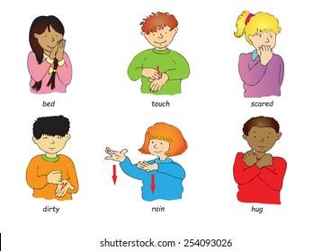 Six multi-racial children doing sign language