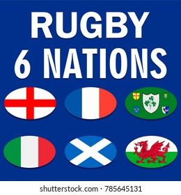 Six nations championship card with flags of England, France, Ireland, Italy, Scotland and Wales. Vector illustration.
