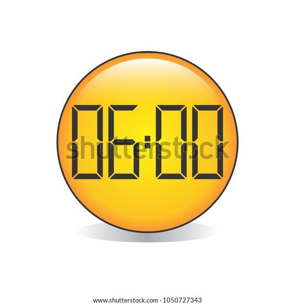 Six o'Clock, Digital Clock Emoji Vector