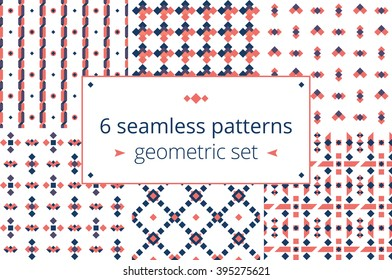 Six in one, geometric patterns set. Set of beautiful seamless geometric patterns in vector. Stylish colors and pretty figures for good design projects