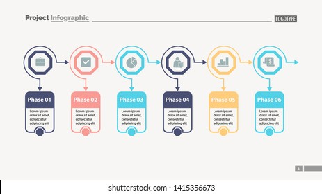 Six options process chart slide template. Business data. Option, diagram, design. Creative concept for infographic, presentation. Can be used for topics like marketing, planning, teamwork.