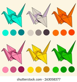 Six origami crane in the different bright color with palette. Paper crane.