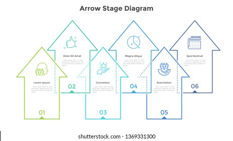 Six overlapping arrows pointing upward. Concept of 6 stages of business growth, development and progress. Simple infographic design template. Abstract vector illustration for report, presentation.