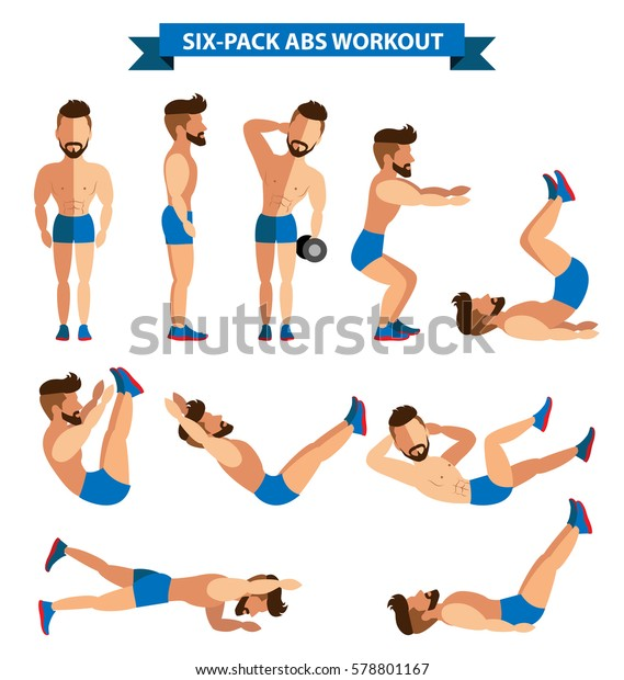 Six Pack Abs Workout Men Men Stock Vector (Royalty Free) 578801167