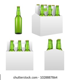 Six pack with green beer bottles mockup set. Vector realistic illustration isolated on white background.