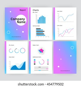 Six page of vector modern annual report template in flat style with shadows. Infographic brochures and flyers for marketing, data visualization, presentations, websites, applications, print.