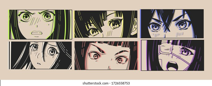 Six pairs of Asian Eyes look. Neon effect. Manga style. Japanese cartoon Comic concept. Anime characters. Hand drawn trendy Vector illustration. Pre-made prints. Every illustration is isolated