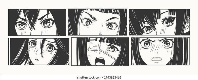 Six pairs of Asian Eyes look. Manga style. Japanese cartoon Comic concept. Anime characters. Hand drawn trendy Vector illustration. Pre-made prints. Every illustration is isolated