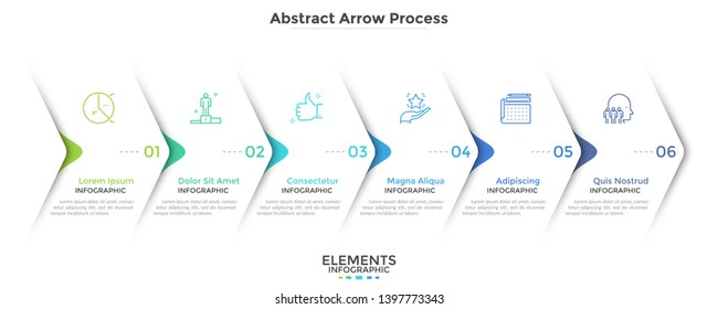 Six paper white overlapping arrows placed in horizontal row. Concept of 6 successive steps of progressive business development. Simple infographic design template. Abstract vector illustration.