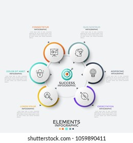Six paper white round elements with thin line icons inside placed around main circle. Concept of 6 features of successful marketing. Modern infographic design template. Vector illustration for report.