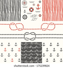 Six patterns of marine symbols. Use to create quilting patches or backgrounds for various craft projects.