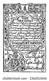 It is Six Pence Bill New Hampshire currency from 1742. Image is the Coat of Arms of Great Britain on the upper part of the bill, vintage line drawing or engraving illustration.