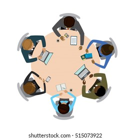Six people different races  sitting and working together at the round table. Teamwork, brainstorming, startup.Isolated on white . Flat vector illustration.