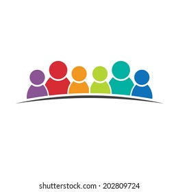 Six people friends. Group of persons. Vector icon