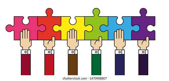 Six people hands putting puzzle 6 pieces. Teamwork business concept. Idea working together banner. Colaborative people design, vector puzzle illustration. Hand business man connecting puzzle elements