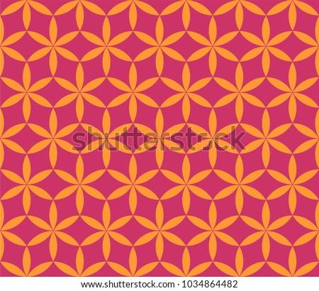 six petal flower pattern geometric background stock vector royalty